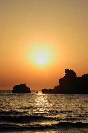 Sunset at Glifada beach on Corfu island, Greece