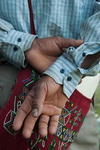 The hands of a Maya Ixil member of the Asociación para la Justicia y Reconciliación, plaintiffs in the Genocide case against the military high command of former de facto president (1982-1983) José Efraín Ríos Montt.  2011