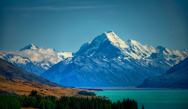 Mount Cook from Peter's Overlook.  Twizel New Zealand<br /> The water actually has  that color as in  the photograph, its a turquoise color from suspended minerals in the glacial run-off.
