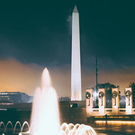 WWII Memorial with Washington Monument at Night