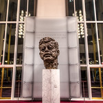 Inside the John F. Kennedy Center is this status of JFK's head with a very unique style.