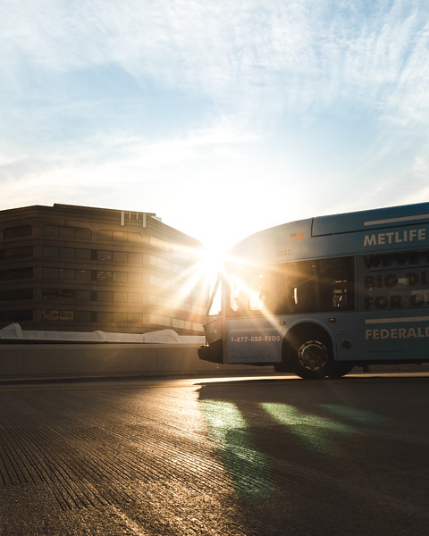 Bus Sunset in Downtown Silver Spring