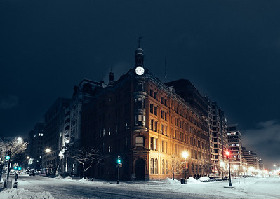 Suntrust Building at Night Covered in Snow