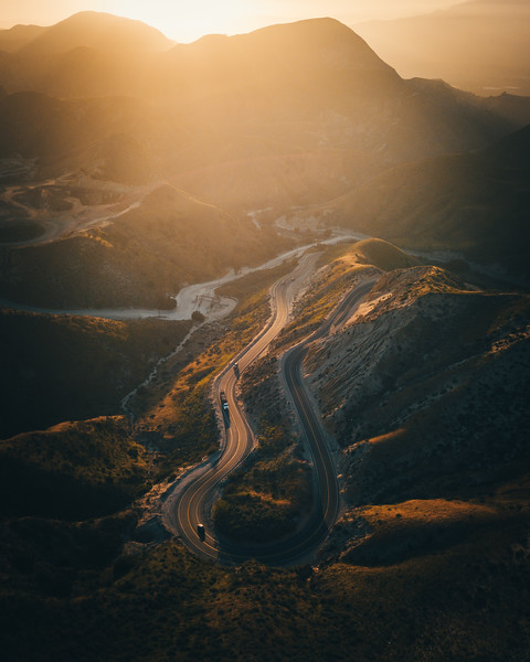 Grimes Canyon Aerial at Sunset