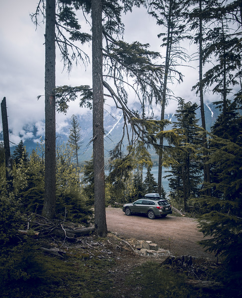 Subaru Parked in Glacier National Park