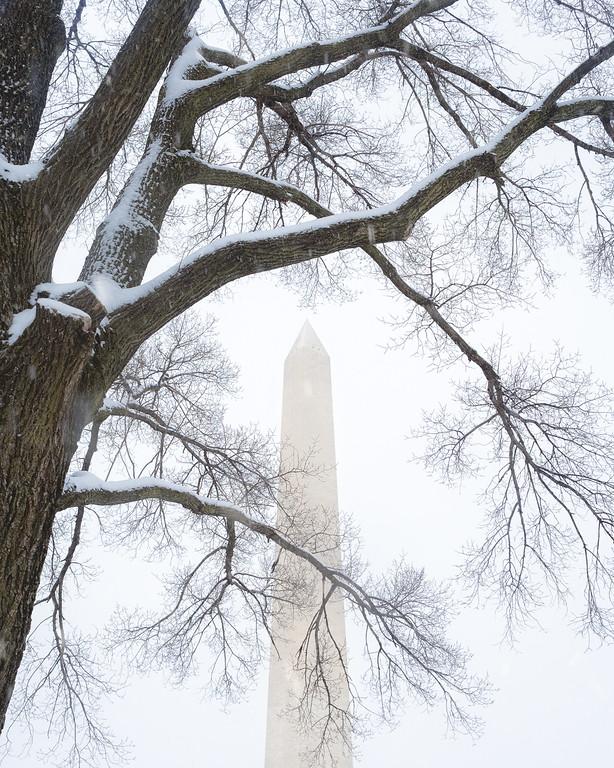 Snowing Washington Monument