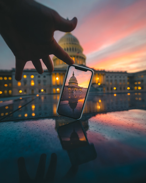 Capitol thru the phone sunset