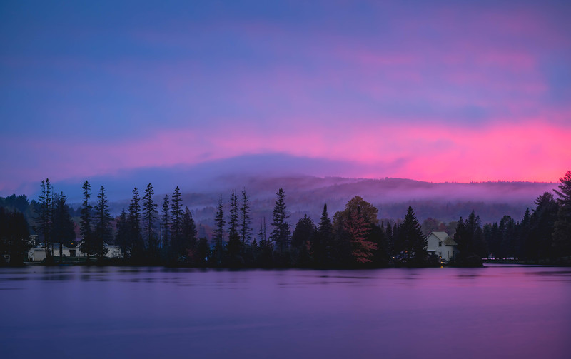Sunset over Joes Pond in Vermont, USA