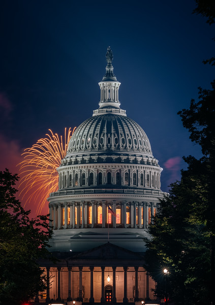 July 4th Fireworks being the United States Capitol in Washington DC