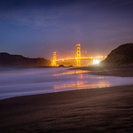 Golden Gate Bridge Reflection at Baker Beach