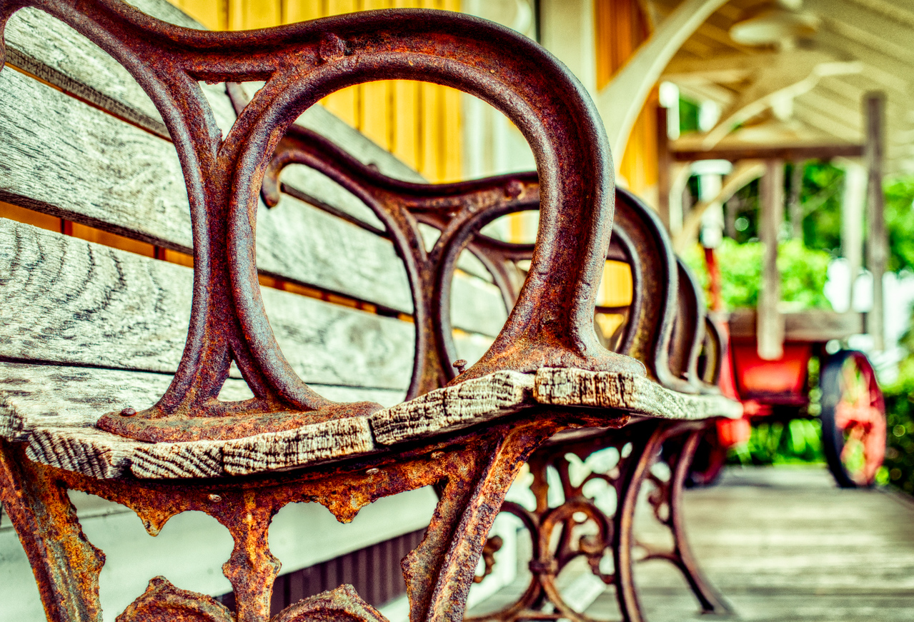 Maybe You Sat Here. Old bench, at the old train station, now a hisorical landmark, Delray Beach, FL.