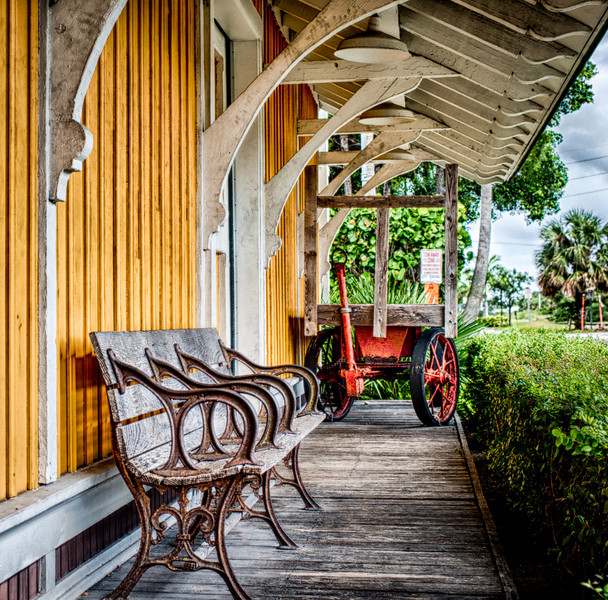 Waiting on the Train.<br /> Old Delray Beach train station, now a histoical landmark. (HDR)