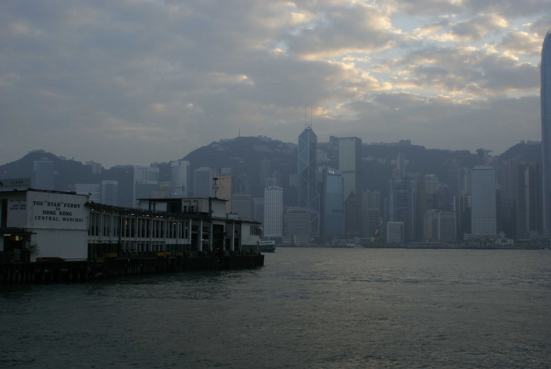 STAR FERRY. VIEW AT HONG KONG FROM KOW LOON.