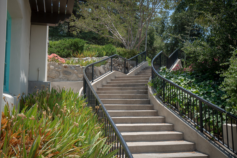 Stairway leading to upper lawn at the Hart Museum