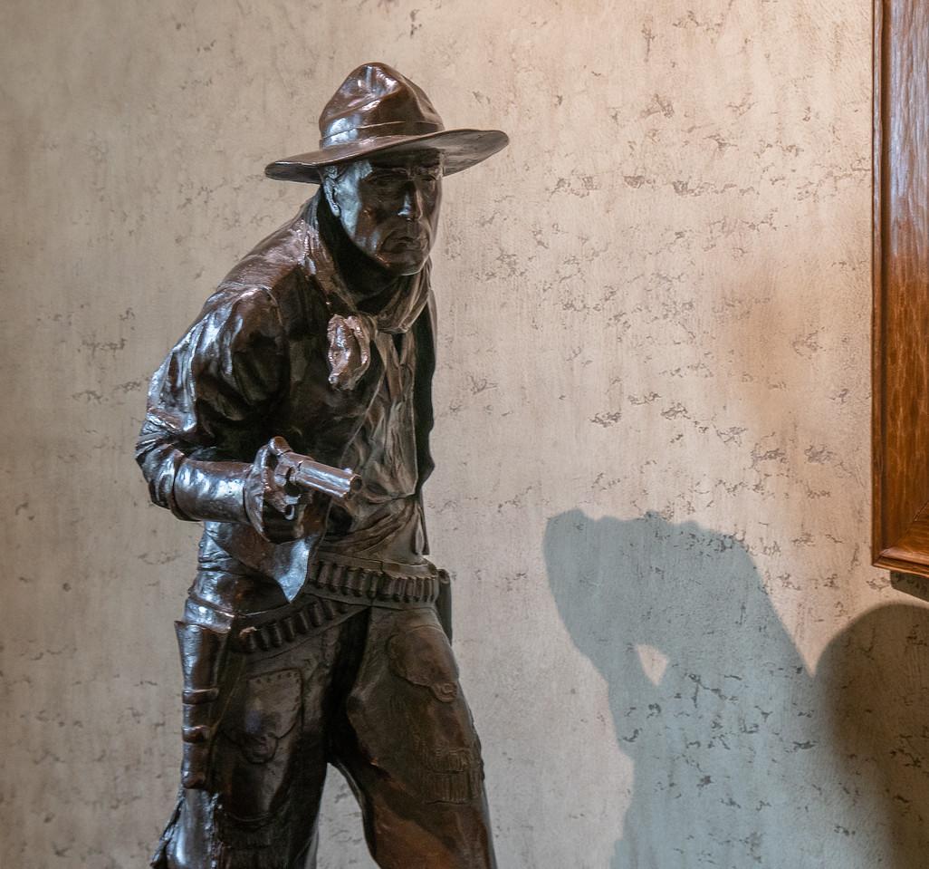 A bronze statue of William S Hart