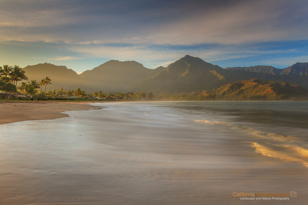 """<p>""""Hanalei Beach"""" <br>Location: Hanalei Bay, Kauai Island, Hawaii. <br><a href=""""http://goo.gl/maps/WdRry"""">Map</a>  <p>Tech Info: <br>Camera: Canon EOS 5D Mk II <br>Lens: Canon EF 17-40mm f/4L IS at 26mm <br>Exposure: 1.6sec at f/14 and ISO 50 <br> Filters: LEE ND Grad 3-stop (0.9)"""