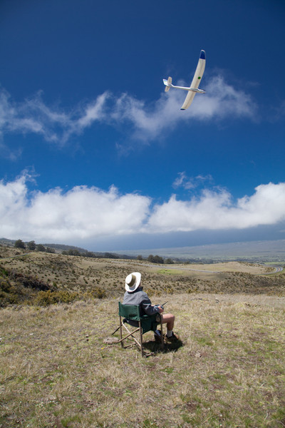 Flying RC plane on the west slope of Haleakalā National Park