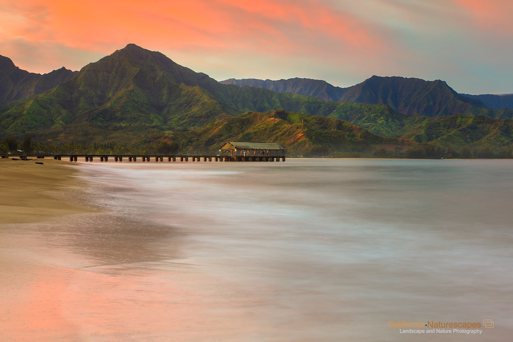 """<p> """"Hanalei Pier at Dawn"""" <br>Location: Hanalei, Kauai Island, Hawaii. <br><a href=""""http://goo.gl/maps/WdRry"""">Map</a>  <p>Tech Info: <br>Camera: Canon EOS 5D Mk II <br>Lens: Canon 17-40mm f/4L IS at 40mm <br>Exposure: 20sec at f/14 and ISO 50 <br>Filters: LEE 3-stop graduated ND filter"""