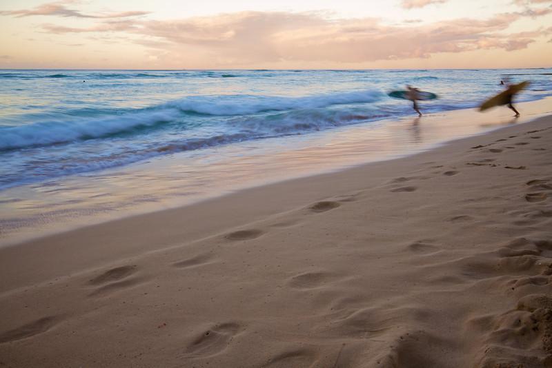 Surfers on Waikiki Beach - Honolulu, Hawaii