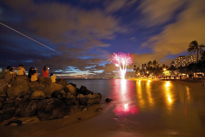 Waikiki Beach Fireworks - Honolulu, Hawaii
