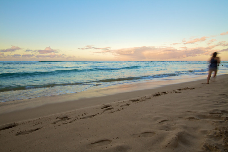 Runner on Waikiki Beach - Honolulu, Hawaii