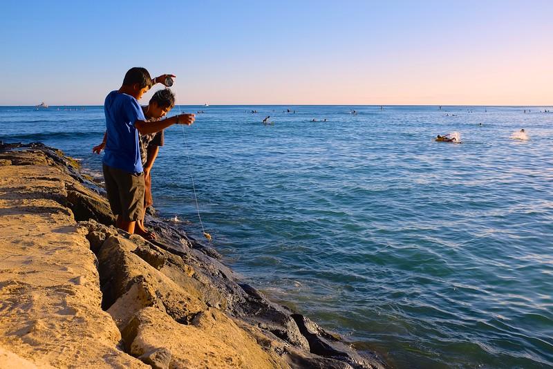 Fishing, Waikiki Beach - Honolulu, Hawaii