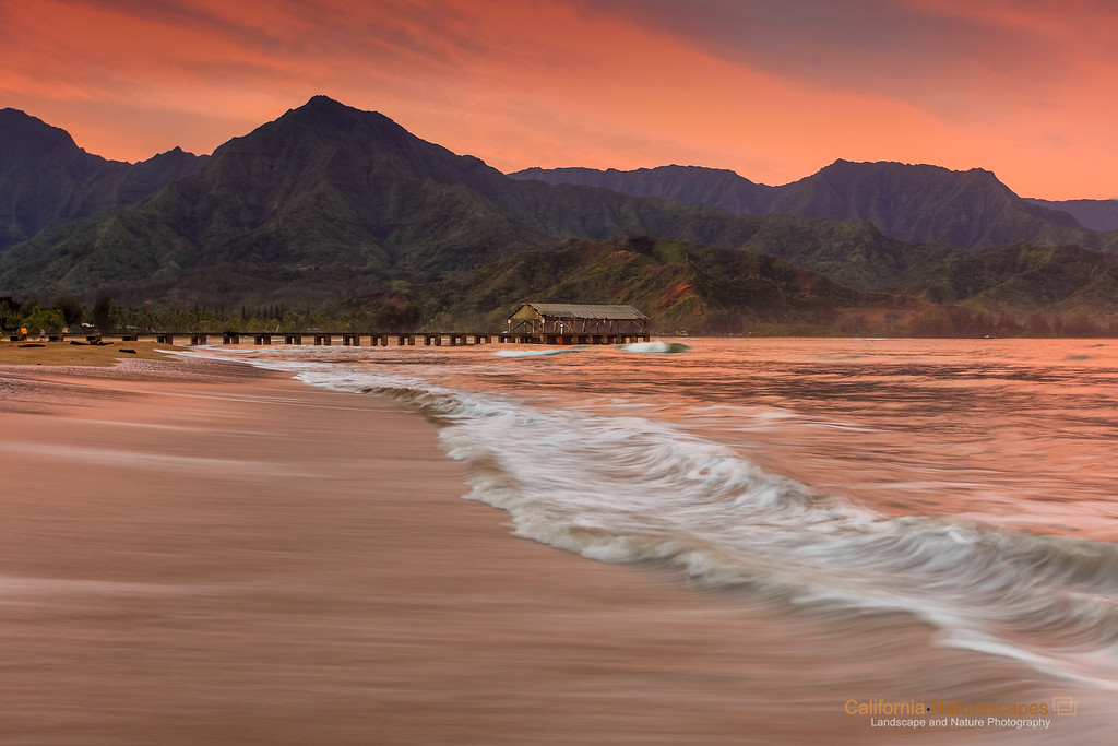 """<p> """"Hanalei Pier at Dawn"""" <br>Location: Hanalei, Kauai Island, Hawaii. <br><a href=""""http://goo.gl/maps/WdRry"""">Map</a>  <p>Tech Info: <br>Camera: Canon EOS 5D Mk II <br>Lens: Canon 17-40mm f/4L IS at 40mm <br>Exposure: 1/4sec at f/10 and ISO 400 <br>Filters: LEE 3-stop graduated ND filter"""