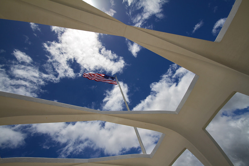 US Flag at Arizona Memorial - Pearl Harbor, Oahu, Hawaii