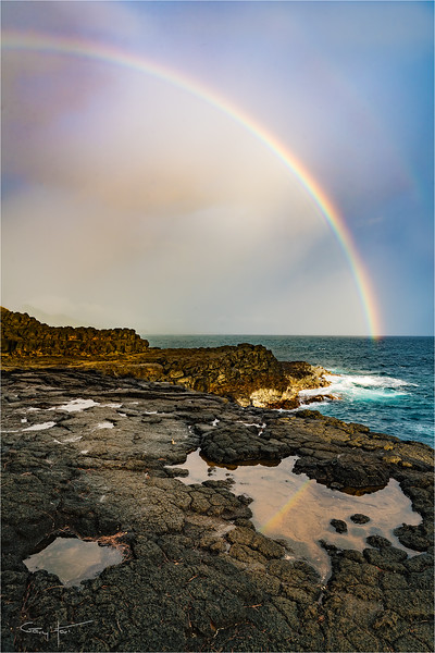 Rainbow Reflection, Queen's Bath, Kauai, Hawaii