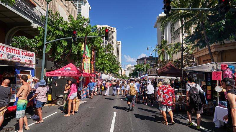A Street Fair on Kalakaua Avenue - Honolulu, Hawaii