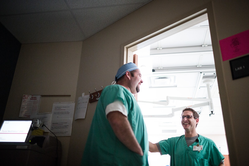 Operating Room Technicians Laughing During a Break