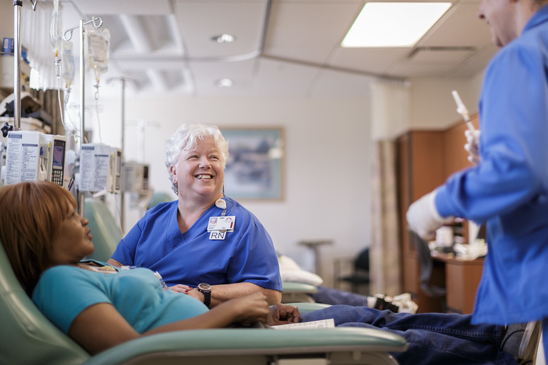 Experienced Female Nurses Enjoying Time With Chemo Patient
