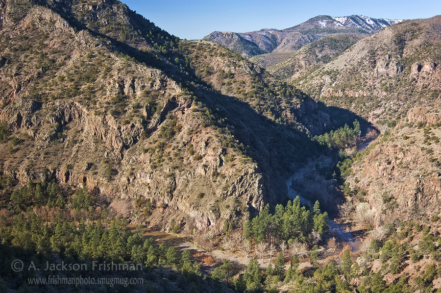 The Gila River flowing through Murdock's Hole, Gila Wilderness, New Mexico, March 2010.