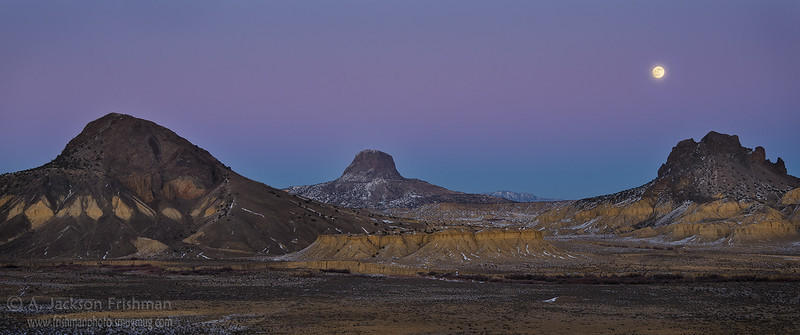 Winter moonrise over the volcanic formations of New Mexico's Rio Puerco Valley, December 2011.
