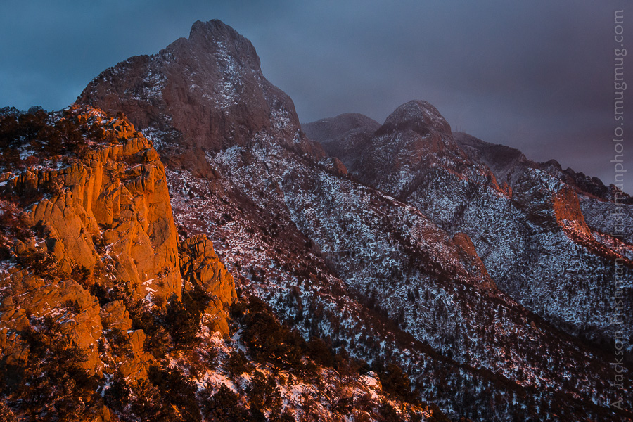 Snowstorm and sunset in New Mexico's Sandia Mountains, December 2012.