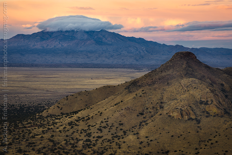 Sunset and cloud over Ladrón Mountain, Socorro County, New Mexico, December 2016.