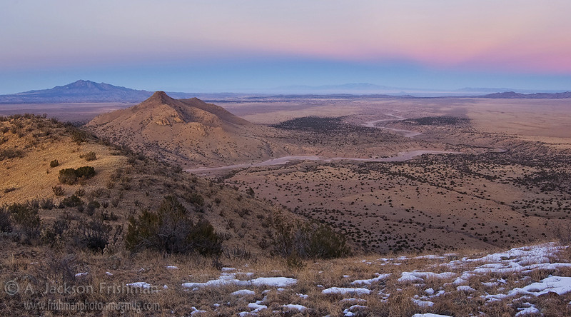 Sunset afterglow over La Jencia creek, Socorro County, New Mexico, December 2009.