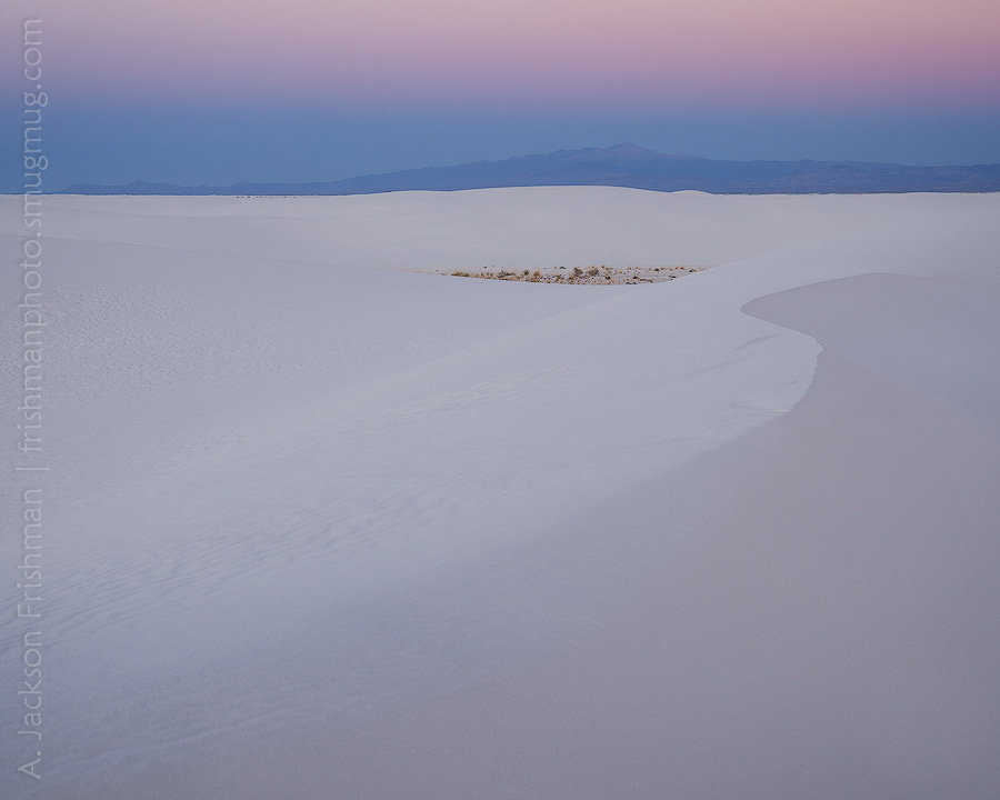 Twilight falls on White Sands and Sierra Blanca, New Mexico, December 2012.