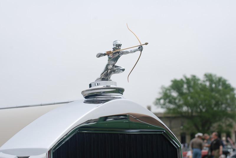 Hood ornament for a Pierce Arrow.