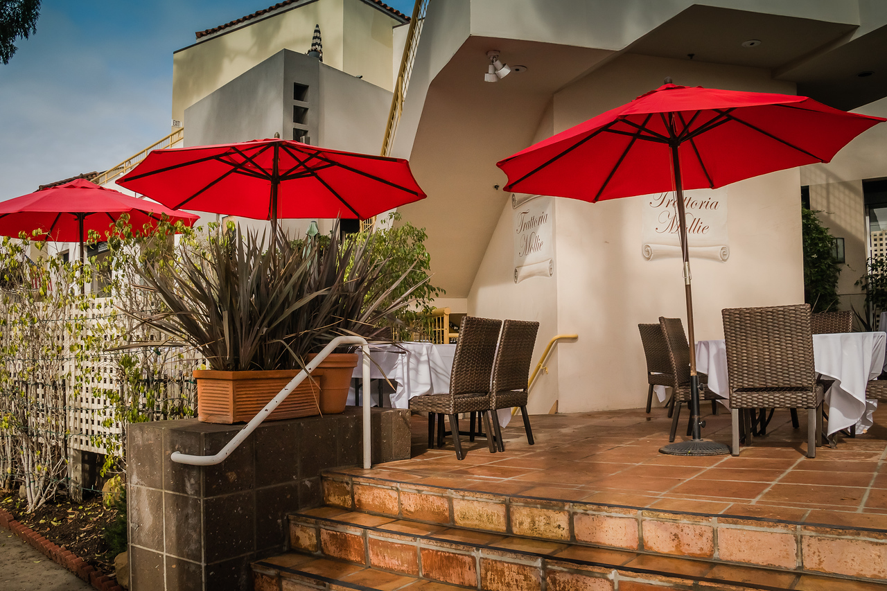 Red Umbrellas in Montecito
