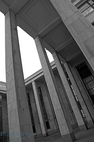High columns reaching up at the Russian State Library in Moscow Russia