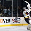 Eddie Lack #31 of the Chicago Wolves receives 1st Star honors after a game against the Rockford Icehogs at the All-State Arena on October 21, 2011. The Wolves won the game 2-0. (Photo by Chris Jerina)