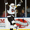 Robert Slaney #8 of the Cincinnati Cyclones celebrates after scoring the game-tying goal against the Chicago Express at the Sears Center on January 25, 2012. The Cyclones won the game 3-2. (Photo by Chris Jerina)