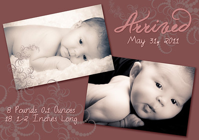 5X7 Custom Baby Announcement - Flat Card (Back)