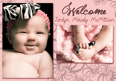 5X7 Custom Baby Announcement - Flat Card (Front)