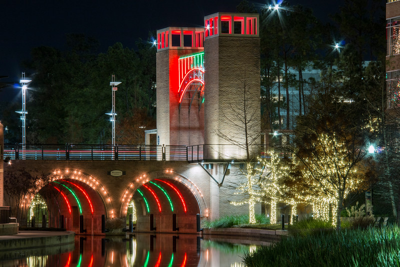 Beautiful lights at night in December along the Woodlands Waterway, in The Woodlands, Texas.
