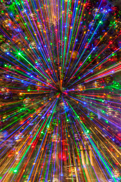 Special zooming effects with Christmas lights in downtown Houston.