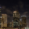 Downtown at night in Houston, Texas.