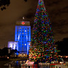 Christmas tree ligths in downtown Houston at night.