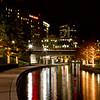 Christmas Lights at night along the Woodlands Waterway in The Woodlands Town Center, The Woodlands, Texas.